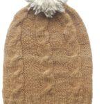 Mütze Bommel und Zopf zweifarbig